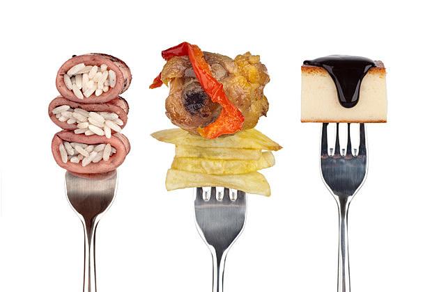 Food on shiny forks
