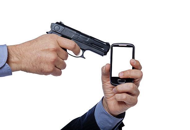 gun shoot a cell phone