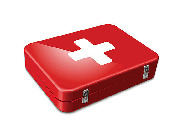 First aid kit red. Vector illustration on white background